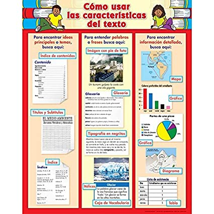 Really Good Stuff How to Use Text Features Poster- Spanish Poster -Cartel Como usar las caracterasticas del Texto