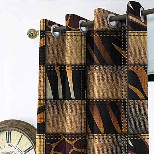 UNOSEKS LANZON Safari Wearing Gromets Curtain Separate Heating, Jeans Denim Patchwork in Safari Style Wilderness Stylized Design Art Print Home Darkening Curtains, Brown and Black, W72 x L72 Inches