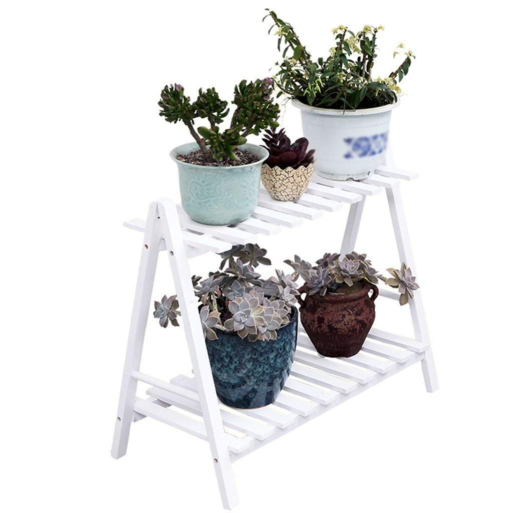 CWJ Flower Stand -Wood Flower Stand Outdoor Rack Stand Balcone Mensola Decorativa Living Room Pianta da Interno e da Esterno Flower Pot Holder,Bianca