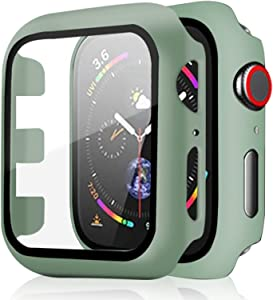 Pocoukate 2 Pack Apple Watch Case 42mm with Tempered Glass Screen Protector Hard PC Compatible with Apple Watch Series 3/2/1, iWatch Accessories Full Scratch-Resistant Protective Cover - Pine-Green