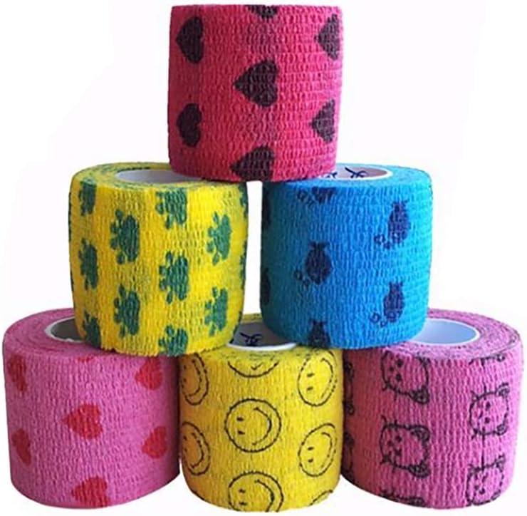 Magiin Paquete de 6 Vendajes autoadhesivos para Caballo, Mascotas y esguinces de Tobillo y hinchazón, 5 cm x 4,6 m