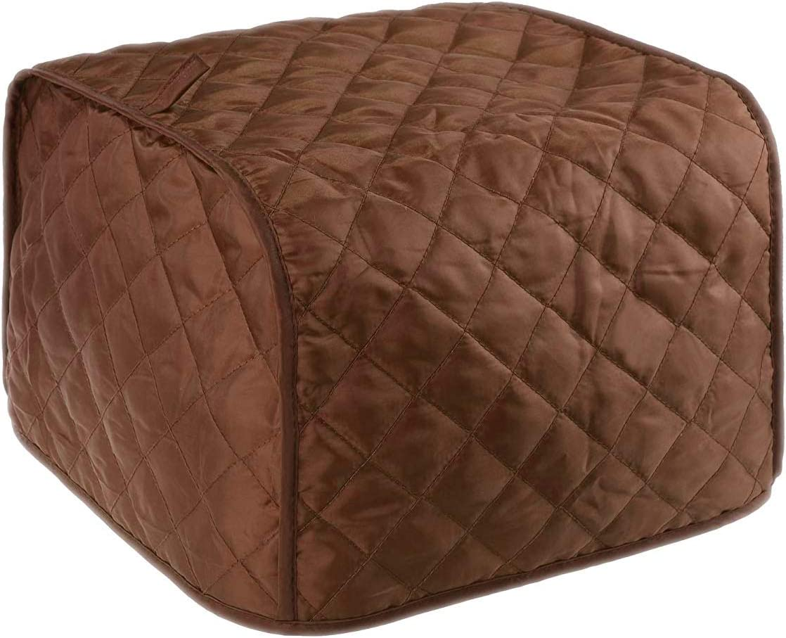 Warmsky Coffee Color Polyester Fabric Quilted Two Slice Toaster Appliance Dust-proof Cover, Dust and Greasy Protection