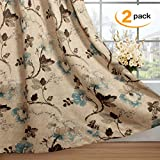 H.Versailtex Ultra Sleep Well Blackout Curtains for Bedroom, Thick and Soft Grommet Curtains (2 Panels), Traditional Vintage Floral in Taupe/Brown/Teal, 52x96 - Inch