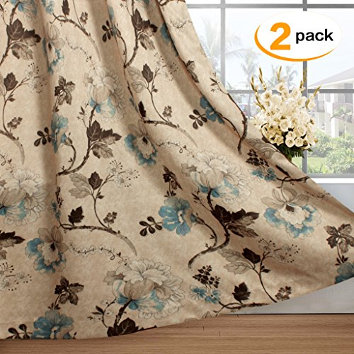H.Versailtex Vintage Rustic Style Printed Design Room Darkening Blackout Curtain Panels with Antique Grommet Top, Set of 2 Panels, W52 x L63 inch-Taupe and Aqua and Brown Floral (Antique Vintage Design)