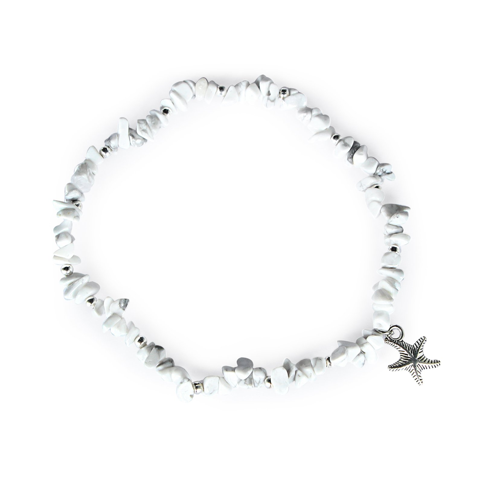 Me&Hz Summer White Anklets for Women Girls Fashion Beach Ankle Bracelets with Charm Stretch Silver Starfish Beads Anklets