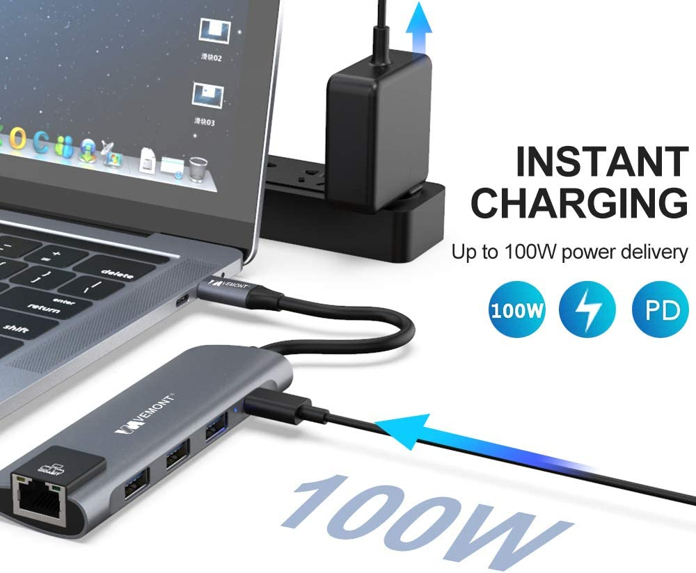 and Other USB C Devices USB C Adapter with Gigabit Ethernet Vemont USB C Hub 5 in 1 Laptop Docking Stations Compatible con MacBook Pro 3 prots USB 3.0 HUB 100W Power Delivery Charge