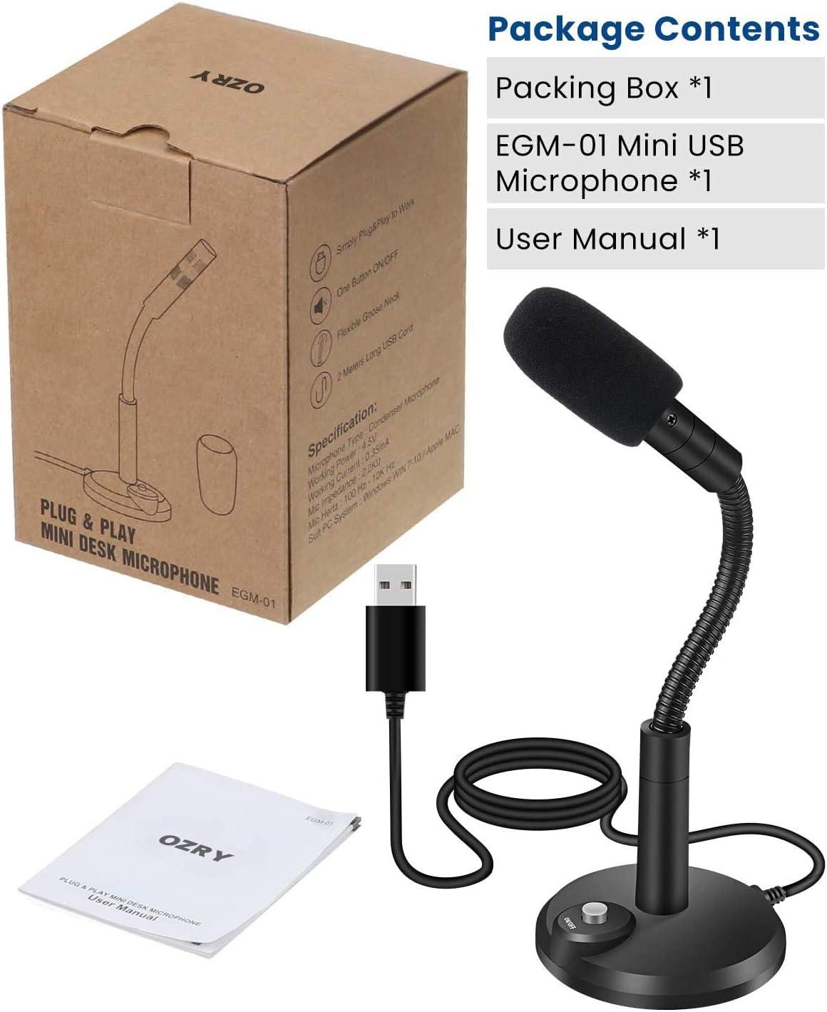 OZRY Plug /& Play Micr/ófono Profesional para PC con bot/ón de Silencio micr/ófono Condensador de Escritorio Compatible con Mac//Windows para grabaci/ón /… Juegos Youtube Micr/ófono USB para Ordenador