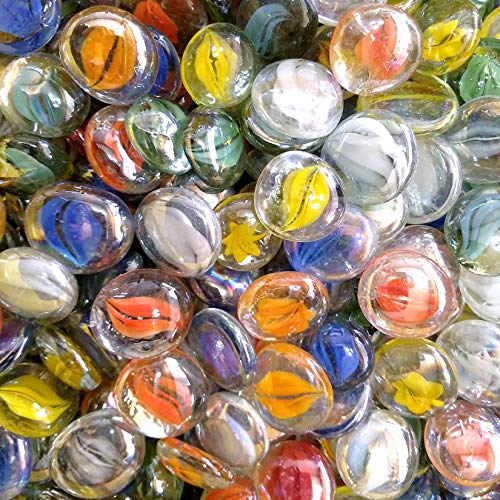 Flat Back Glass Eyes - WeJe Glass Gems Jumbo Large 28-38 mm Opaque Cat's Eye Swirl Flat Back Marbles, for Home Decor Art Craft Vase Filler Aquarium Fish Tank Decoration (14oz, Cat's Eye Swirl Assorted Mix)