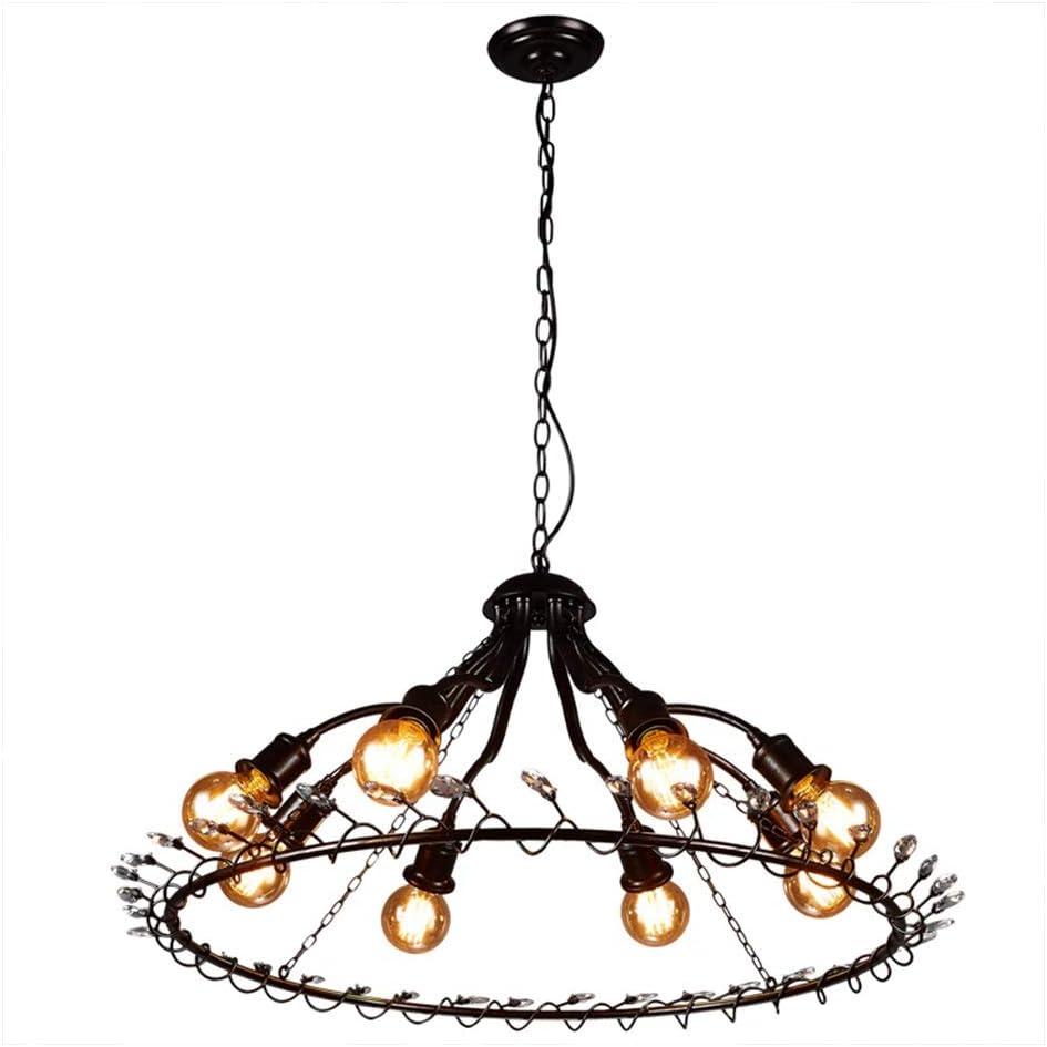 Lámpara redonda, lámpara de arte de barandilla de hierro forjado de cristal de estilo industrial, luz de decoración de café 1109-DD
