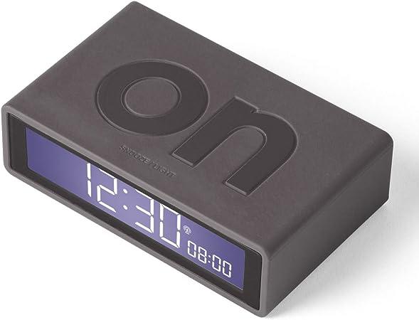 Lexon Flip + Réveil LCD électroluminescent réversible Radio contrôlé (RCC), Lumière Tactile Gris foncé