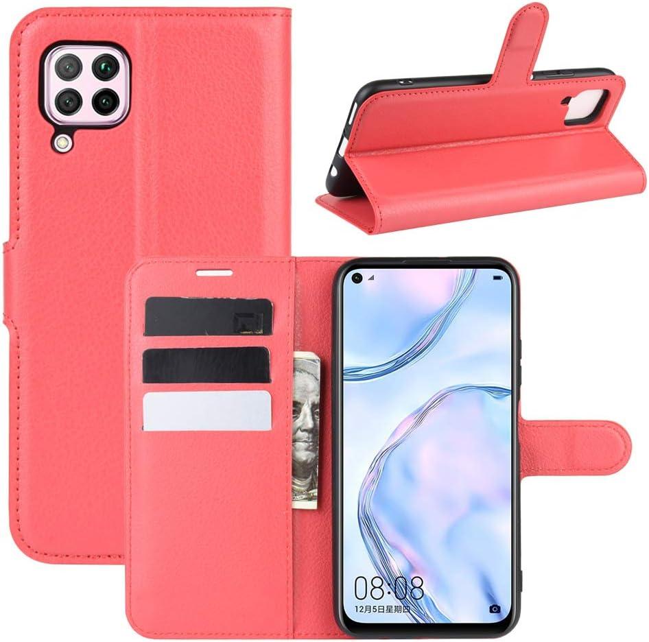 Fertuo Funda para Huawei P40 Lite, Carcasa Libro con Tapa de Cuero Piel Wallet Case Flip Cover con Kickstand, Hebilla Magnetica, Ranuras para Tarjetas para Huawei P40 Lite, Rojo