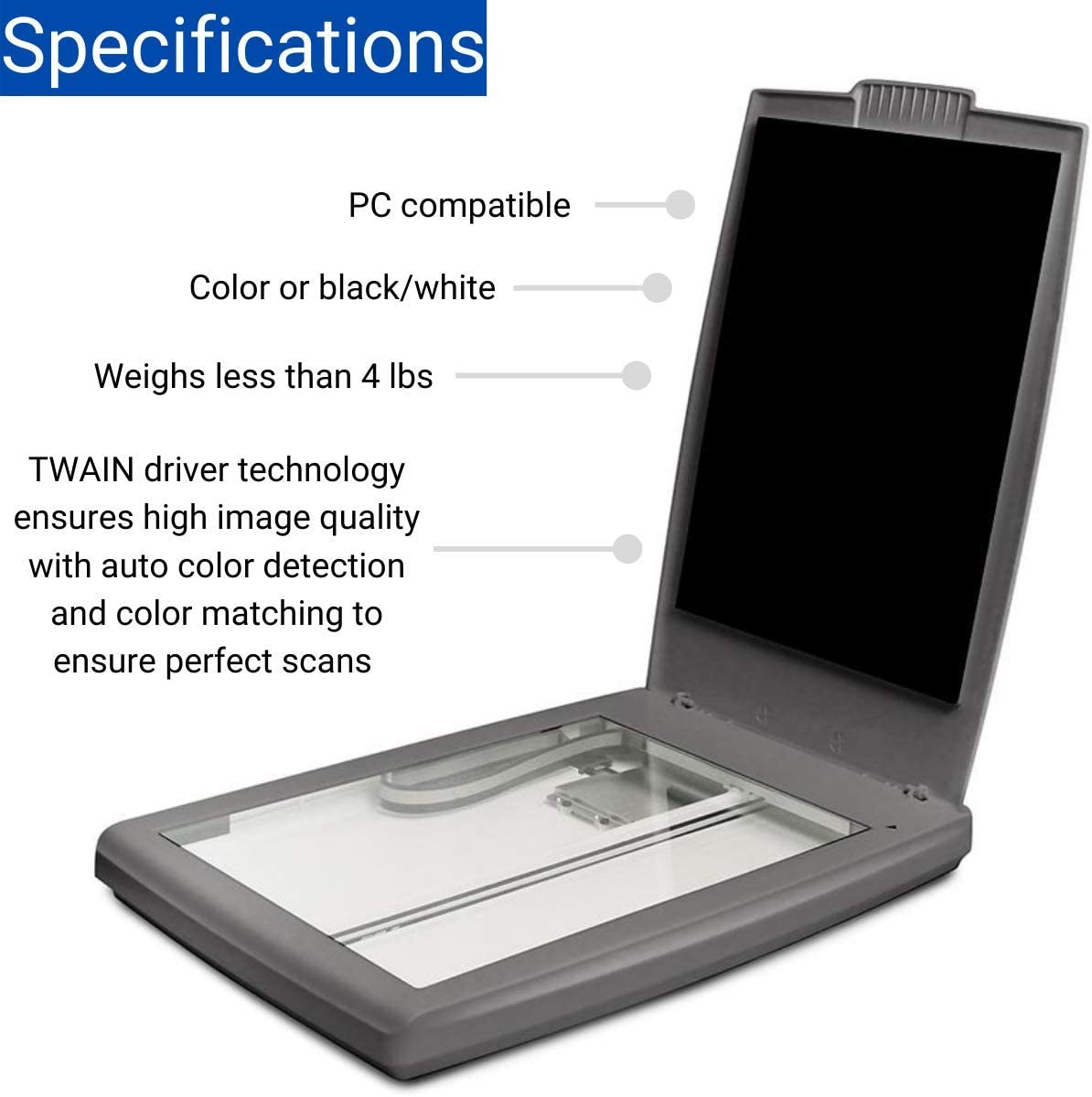 Visioneer 7800 Flatbed Color Photo and Document Scanner for PC with Tag That Photo Software, USB Powered: Electronics