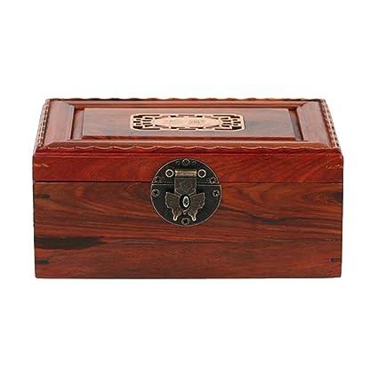 NAN Caja de joyería decorativa pequeña caja de madera antigua de palisandro rojo Caja de joyería