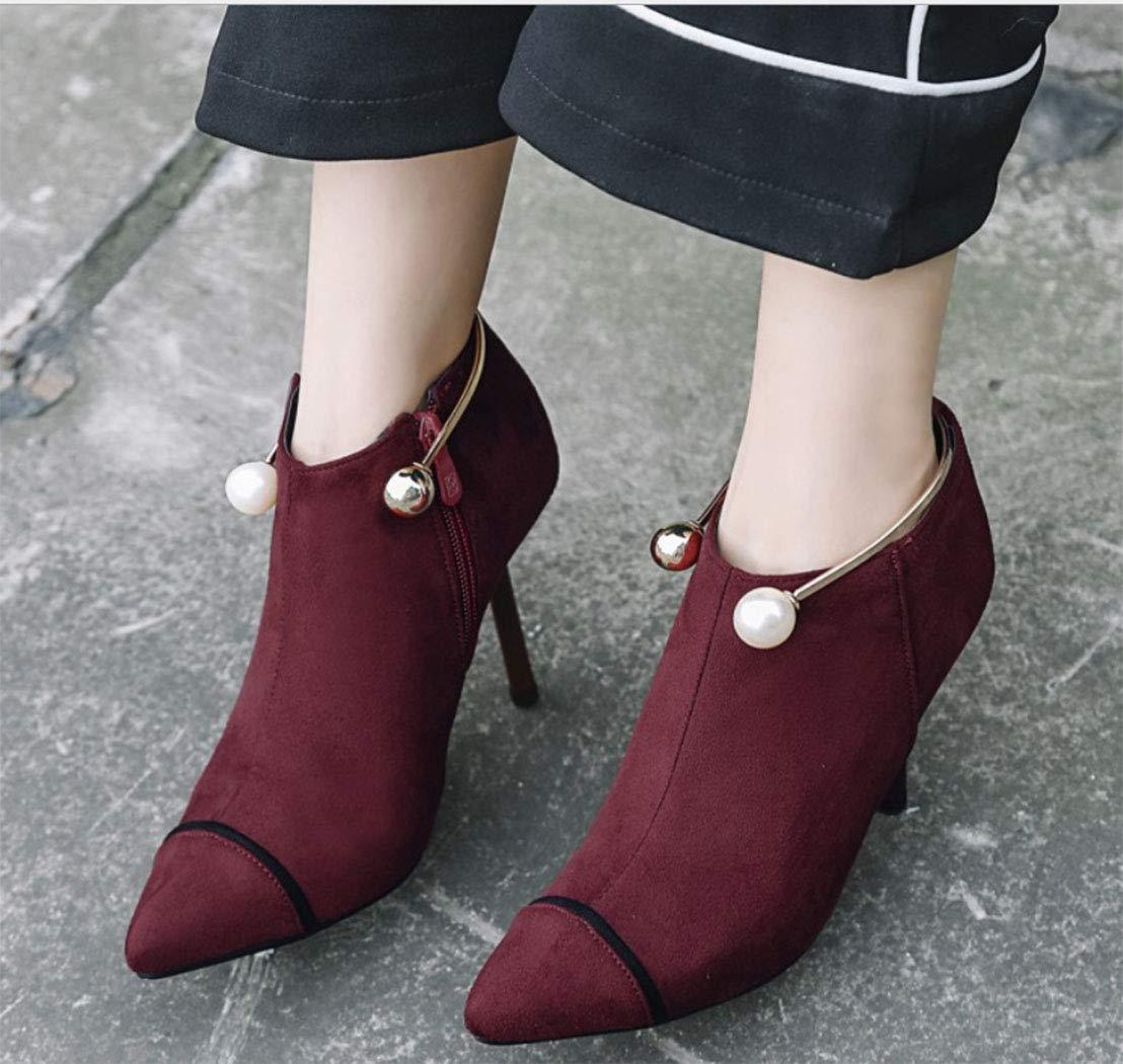 HRN Frauen Stiefeletten Wildleder Stiletto high Heel Spitze bloße bloße bloße Stiefel seitlicher reißverschluss Perle Metall Schuh Ring dekorative einzelne Stiefel 080c69