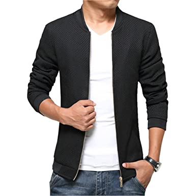 LOVECC Men's Jacket Stand Collar Slim Fit Casual Solid Outdoor ...