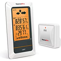 ThermoPro TP67 Rechargeable Indoor Outdoor Thermometer Wireless Weather Station Digital Barometer Hygrometer Humidity Gauge with Cold-Resistant and Waterproof Temperature Monitor, 330ft/100m Range