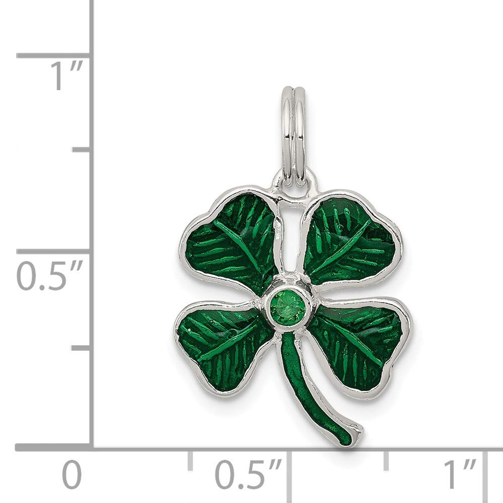 22mm x 12mm Solid 925 Sterling Silver Pendant Enameled 4-Leaf Clover with Green Glass Stone Charm