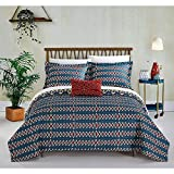 4pc Blue Yellow Gold Red African Themed Quilt King Set, Hippie Pattern Bedding Bohemian Hippy Tribal Native American Southwest Paisley Motif, Diamond Aztec Artistic, Microfiber
