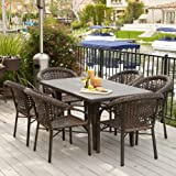 Malibu Patio Furniture ~ Outdoor Wicker Patio Dining Set with Stacking Patio Dining Chairs (7-piece)(Brown)