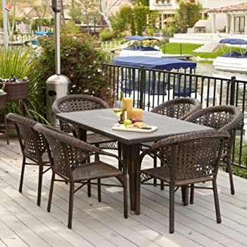 Malibu Patio Furniture ~ Outdoor Wicker Patio Dining Set With Stacking Patio  Dining Chairs (7