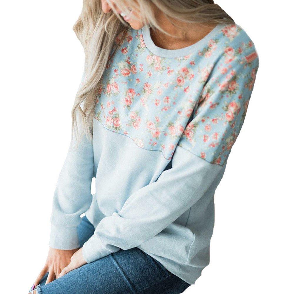 OrchidAmor Fashion Women O-Neck Long Sleeve Floral Print Patchwork T-Shirt Tops Pineapple Shirt for Women Sweatshirt