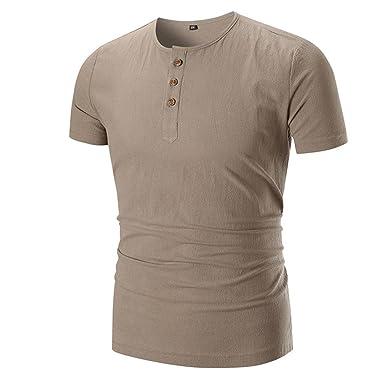 Camisetas Hombre con Botón LHWY, Camisetas Ajustados De Cuello Redondo Manga Corto Color Sólido Casuales