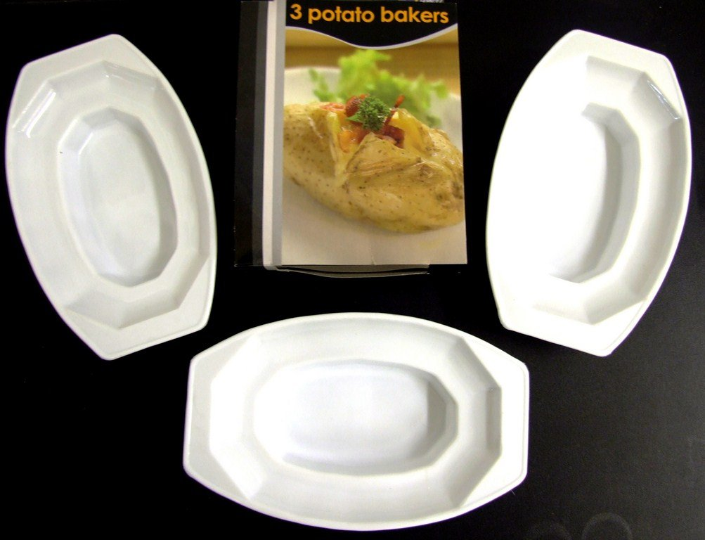 3 PC PIECE MICROWAVEABLE PLASTIC JACKET POTATO BAKERS Royle Home