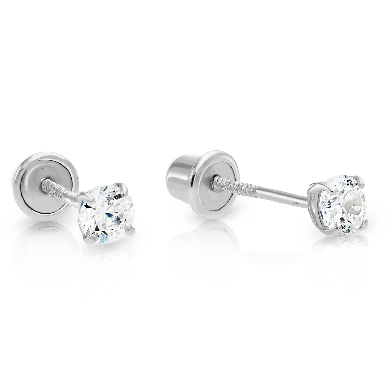 14k White Gold Solitaire Cubic Zirconia CZ Stud Earrings with Secure Screw-backs 14KW-RCZ2.5MM-SC
