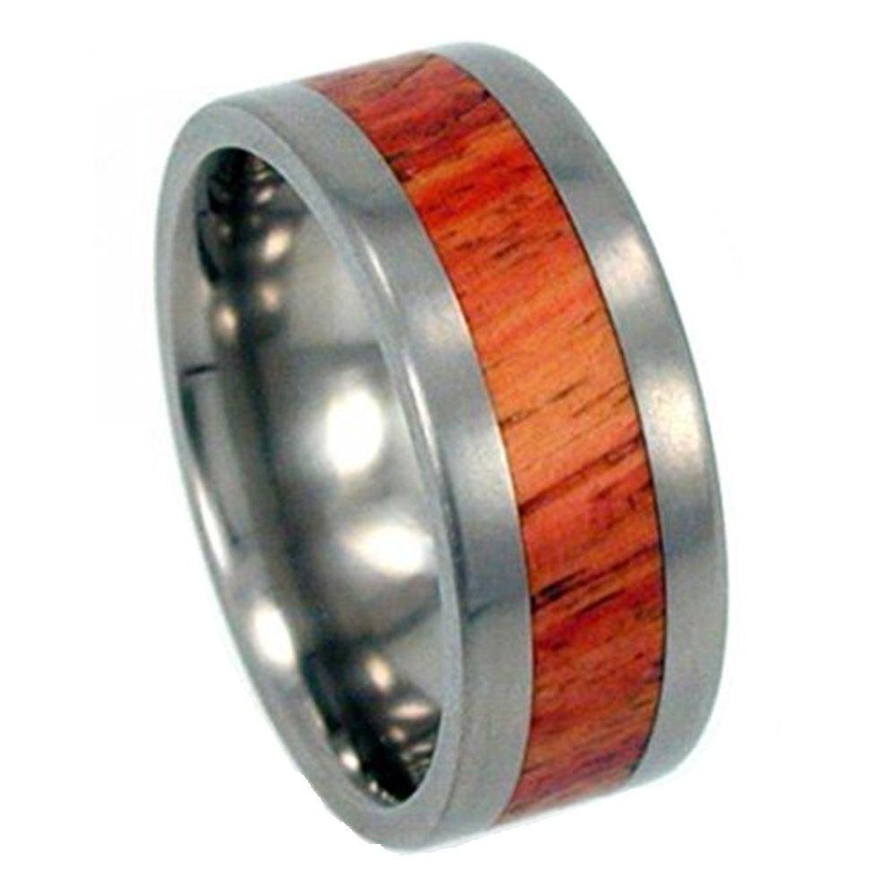 Tulip Wood Inlay 8mm Comfort Fit Titanium Band