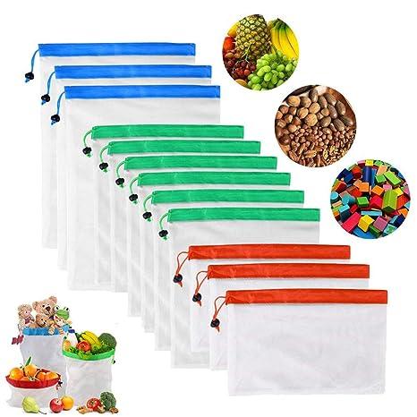 Weskimed 12PCS Bolsas Reutilizables Compra Ecológicas Bolsas Fruta Reutilizables para Almacenamiento Verduras Juguetes Lavable y Transpirable 3 ...