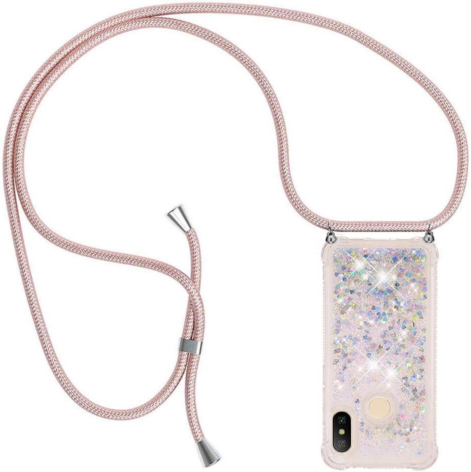 Ptny Case Funda Colgante movil con Cuerda para Colgar Xiaomi Mi A2 Lite Carcasa Correa Transparente de TPU con Cordon para Llevar en el Cuello con Ajustable Collar Cadena Cordón, Oro Rosa