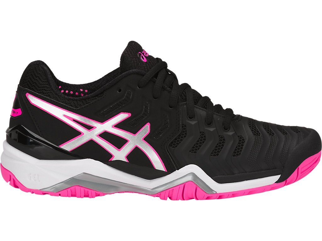 Asics Women's Gel-Resolution 7 Tennis-Shoes, Black/Silver/Hot Pink (6.5 Medium US) by ASICS (Image #1)
