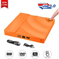 Grabadora CD DVD Externa,ShangQia USB 3.0 Lector Grabadora CD/DVD Ultra Slim Portátil Unidad Externa Burner Óptico CD + DVD +/-RW/-RW Super Drive para Windows 2003/Vista/XP/7/8/10/Linux/MacOS(Naranja)