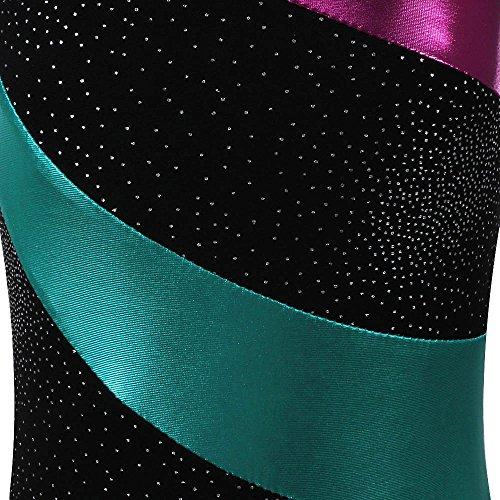 TFJH Sleeve Leotards Piece Girl A Long Dancing Leotard Little Gymnastics Athletic Black Sparkle One rwUqrx
