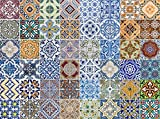 FLFK 48 Units Mexican Talavera Peel & Stick Vinyl Adhesive Tile Stickers for Kitchen and Bathroom Backsplash Decal 7.87x7.87 Inch (20x20cm)