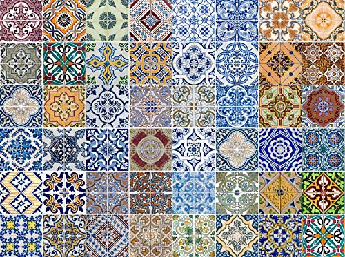 FLFK 48 Units Mexican Talavera Peel & Stick Vinyl Adhesive Tile Stickers for Kitchen and Bathroom Backsplash Decal 7.87x7.87 Inch ()