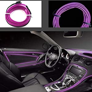 Car Interior Lights El Wire 5m/16ft Flexible el neon Wire Rope Neon Glowing Strobing Electroluminescent Wire Neon Lights for Garden Decorations Rope Lights(Purple)