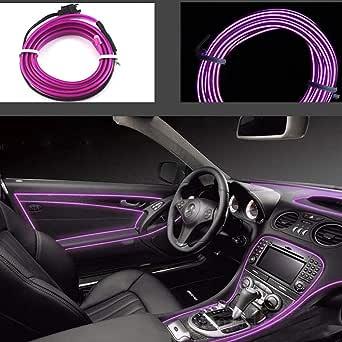 Ice Blue 3M 1PC LED EL Light Car Vehicle Style Styling DIY Light Decoraci/ón interior flexible Molding Light Strip Car Party Decoraci/ón Light