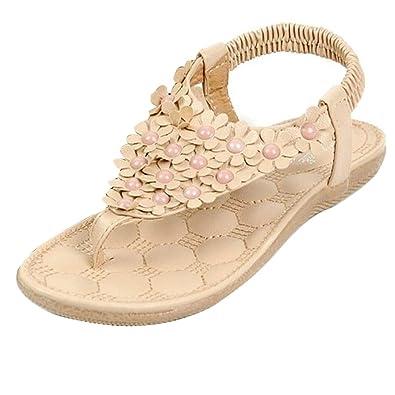 Minetome Women Summer Flower Beading T strap Flip flop Shoes Flats Sandals ( Pink
