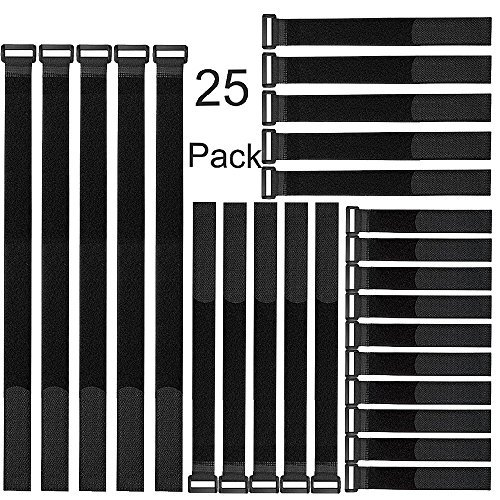 Ably 8inch/12inch/18inch/24 inch Cable Straps, Nylon Cable Ties, Hook and Loop Straps Reusable Fastening Cable Ties for Cable Management (25 Pack,Black)