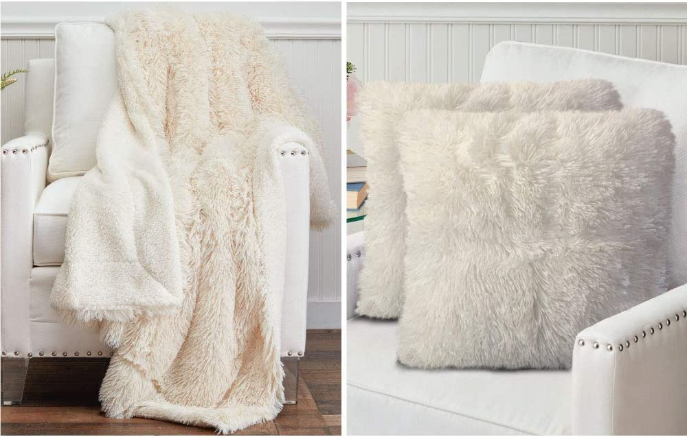 The Connecticut Home Company Shag Throw Blanket and Throw Pillow Case Set of 2, Both in Cream, Sherpa Reversible Blanket is Size 65x50 and Pillow Cases are Size 18x18, 2 Item Bundle