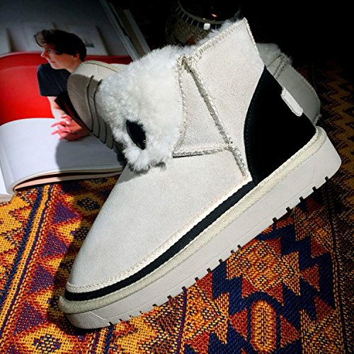 spell KHAKI color NSXZ cotton Flanging snow 7660CM boots thermal round boots cowhide Winter wxnqYaHp