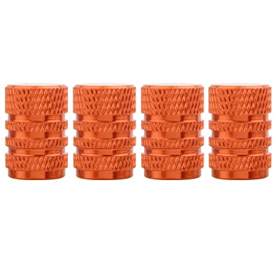 TOMALL Orange Round Style Aluminum Tire Valve Stem Caps for Auto Car Motorcycles: Automotive