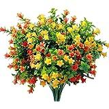 Artificial Flowers Fake Outdoor Flower Arrangements Cemetery Flower Decor Plastic UV Resistant for Garden Table Centerpieces