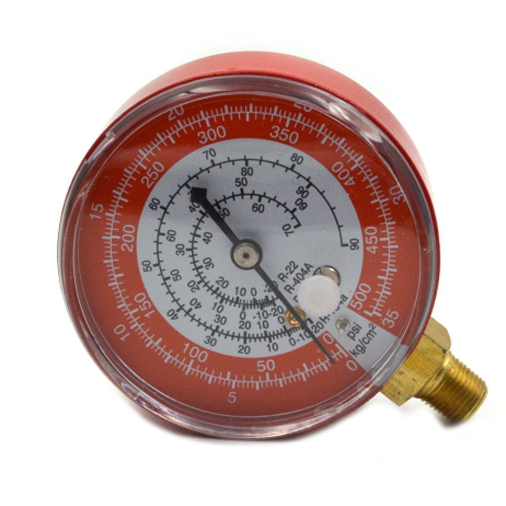 Nikauto Car Repair Tool Air Conditioning High (Red) Pressure Gauge Refrigerant R134A R404A R22 R12 0-35KG/cm2 and 0-500PSI