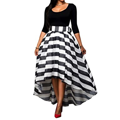 Women\'s 3/4 Sleeve Top Striped High Low Skirt Formal Party Prom ...