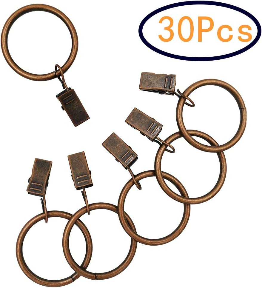 YUNGUI 30 Pack Curtain Clip Rings,Bronze Metal Curtain Rings with Clips Decorative Drapery Window Copper Curtain Rings 1.25, Bronze