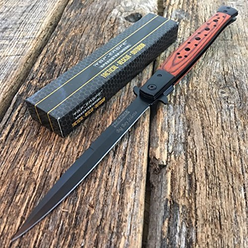TAC FORCE 13'' Extra Large Spring Assisted Open WOOD Pocket Knife by Togortorg