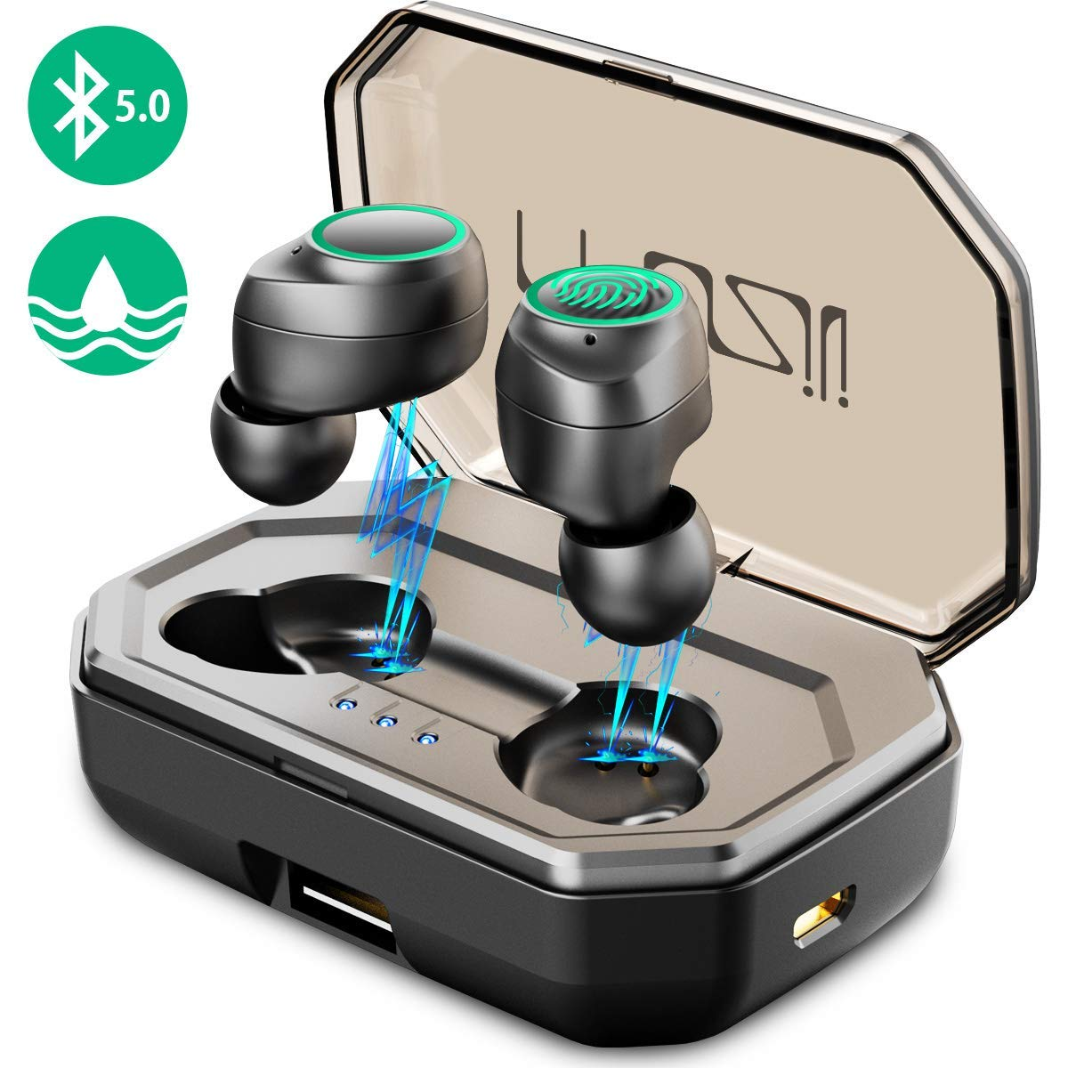 120h Play Time Muzili Sports True Wireless Earbuds, Bluetooth 5.0, 3000mAh Charging Box for 120h Music Time, 9mm Drivers for Stereo Hi-Fi Sound, IPX6 Waterproof in Ear, Noise-Cancelling Headphones