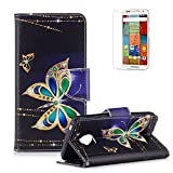 Moto G5 Plus Cover [with Free Screen Protector],Funyye New 3D Stylish Vintage Patterns PU Folio Leather Wallet with Credit Card Holder Slots Full Body Protection Case for Motorola G5 Plus (2017)-Gold Butterflies